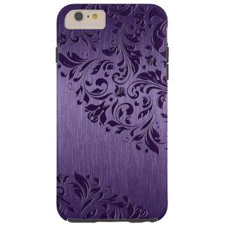 Metallic Purple Brushed Aluminum Purple Lace 2a Tough iPhone 6 Plus Case