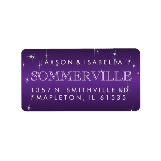Metallic Purple Star Light Design Address Label