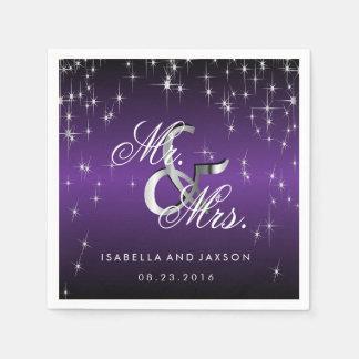 Metallic Purple Star Lights Design Paper Napkins