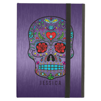Metallic Purple With Colorful Sugar Skull iPad Air Cases