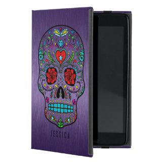 Metallic Purple With Colorful Sugar Skull Cover For iPad Mini