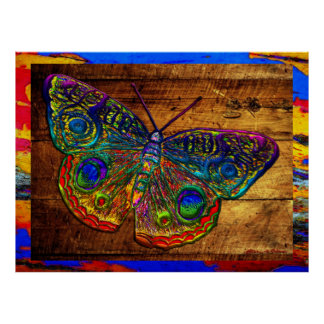 Metallic Rainbow Country Butterfly Poster