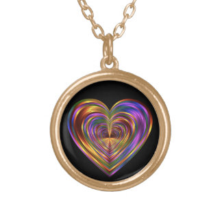 Metallic Rainbow Heart Necklace