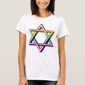 Metallic Rainbow Star of David For Her T-Shirt