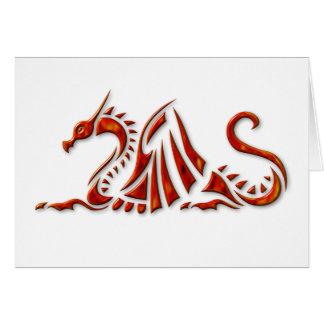 Metallic Red Beveled Dragon Card
