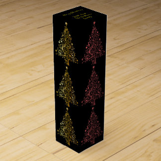 Metallic Red Black Gold Christmas Tree Pattern Wine Box