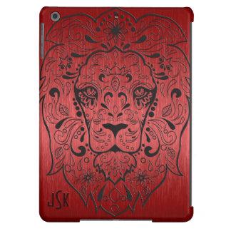 Metallic Red & Black Lion Floral Sugar Skull iPad Air Covers