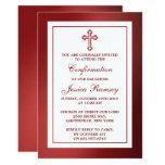 Metallic Red Cross Holy Communion Or Confirmation 13 Cm X 18 Cm Invitation Card