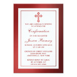 Metallic Red Cross Holy Communion Or Confirmation 13 Cm X 18 Cm Invitation Card
