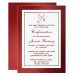 Metallic Red Dove Holy Communion Or Confirmation 13 Cm X 18 Cm Invitation Card
