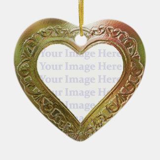 Metallic Red & Green Heart Frame Christmas Ornament