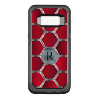 Metallic Red & Silver Geometric pattern OtterBox Commuter Samsung Galaxy S8 Case