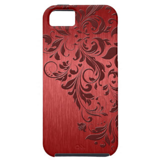 Metallic Red Texture & Floral Lace iPhone 5 Cover