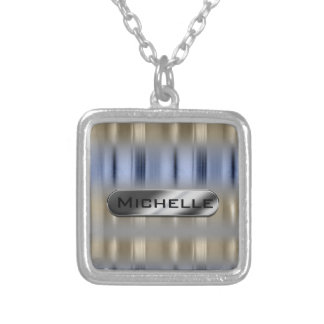 Metallic Reflections and Nameplate ID287 Silver Plated Necklace