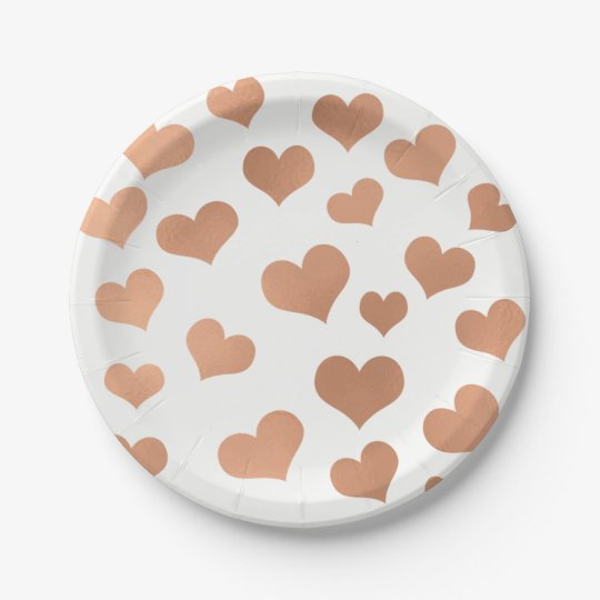 Metallic Rose Gold Hearts Confetti White Copper Paper