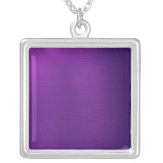 Metallic Royal Purple Square Pendant Necklace