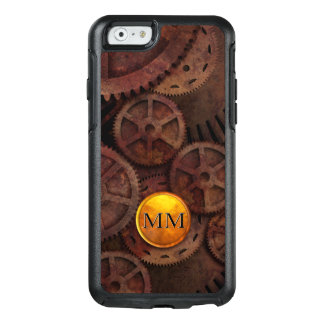 Metallic Rust Brass Gold Custom Steampunk Monogram OtterBox iPhone 6/6s Case