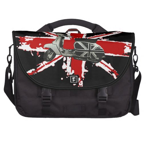 Metallic Scooter on shredded union jack art Laptop Bags