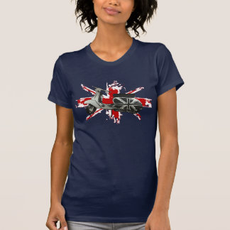 Metallic Scooter on shredded union jack art T Shirts