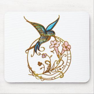 Metallic Scrollwork with Hummingbird & Flowers Mousepad