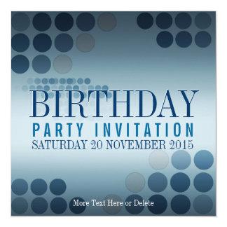 Metallic Shine Blue Party Birthday Invitation