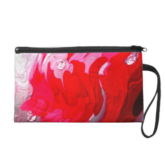 metallic shiny colors, abstract red, Wristlet
