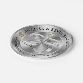 Metallic Silver 25th Wedding Anniversary Paper Plate