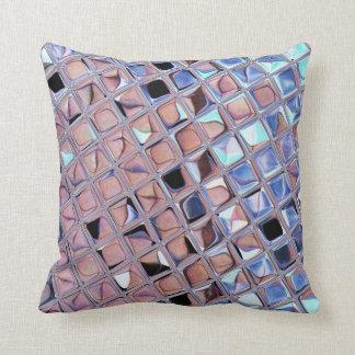 Metallic Silver Disco Ball Mirrors Faux Cushion