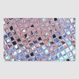 Metallic Silver Disco Ball Mirrors Faux Rectangular Sticker