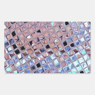 Metallic Silver Disco Ball Mirrors Faux Rectangular Sticker
