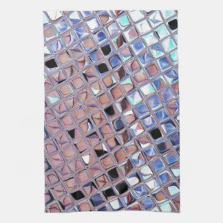 Metallic Silver Disco Ball Mirrors Faux Tea Towel