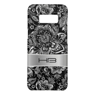Metallic Silver Floral Damask Pattern Case-Mate Samsung Galaxy S8 Case