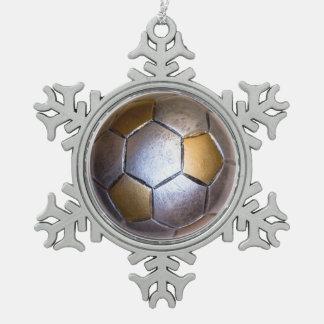 Metallic Silver & gold Soccer Ball Pewter Snowflake Decoration
