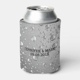 Metallic Silver Gray Abstract Rain Drops Can Cooler