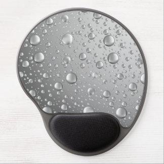 Metallic Silver Gray Abstract Rain Drops Gel Mouse Pad