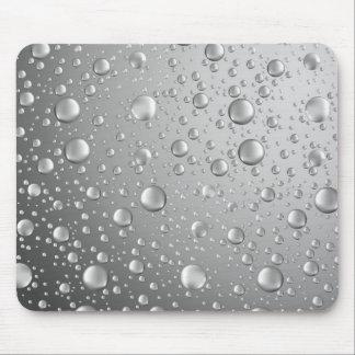 Metallic Silver Gray Abstract Rain Drops Mouse Mat
