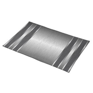 Metallic Silver Gray Brushed Aluminum Look Placemat