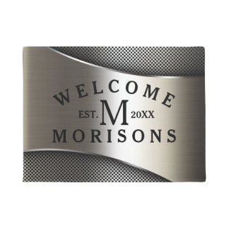 Metallic Silver Gray Geometric Modern Design Doormat