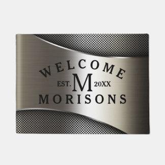 Metallic Silver Gray Geometric Modern Design Doormat