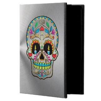Metallic Silver Gray With Colorful Sugar Skull