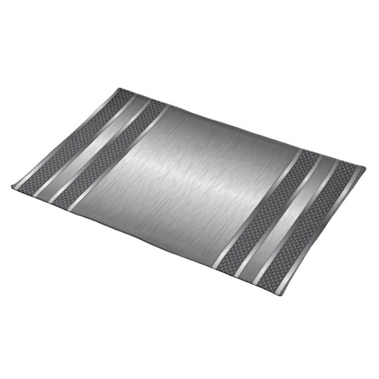 Metallic Silver Grey Brushed Aluminium Look Placemat