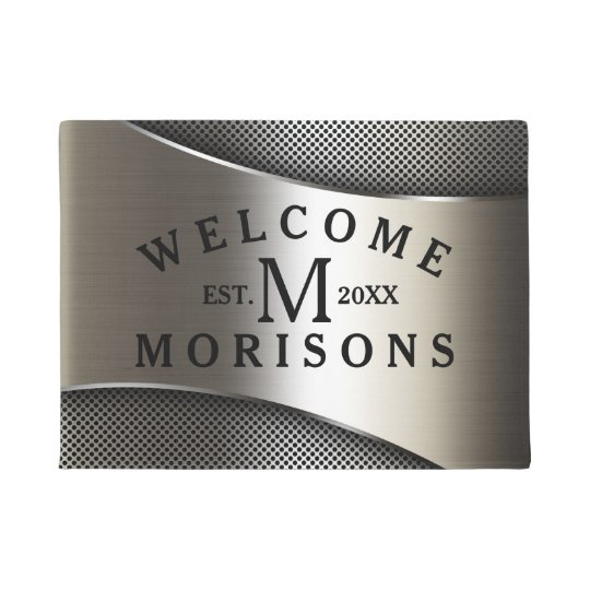 Metallic Silver Grey Geometric Modern Design Doormat