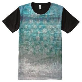Metallic Silver Grungy Blue Ocean Aquatic Ombre All-Over Print T-Shirt