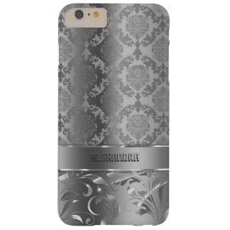 Metallic Silver Look Damasks & Lace Barely There iPhone 6 Plus Case