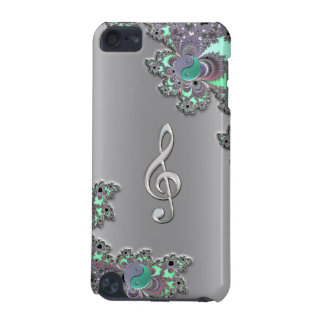Metallic Silver Music Clef Fractal iPod Touch Case