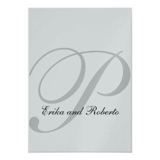 Metallic Silver Paper Monogram Wedding Invite