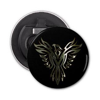 Metallic Silver Phoenix on Black Bottle Opener