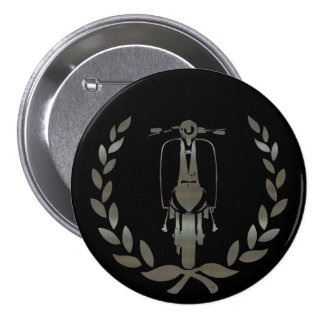 Metallic Silver scooter and laurel 7.5 Cm Round Badge