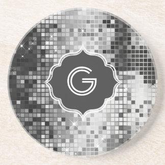 Metallic Silver Sequins Look Disco Mirror-Monogram Coaster