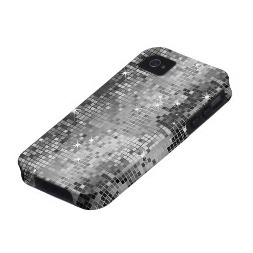 Metallic Silver Sequins Look Disco Mirrors Bling iPhone 4 Case